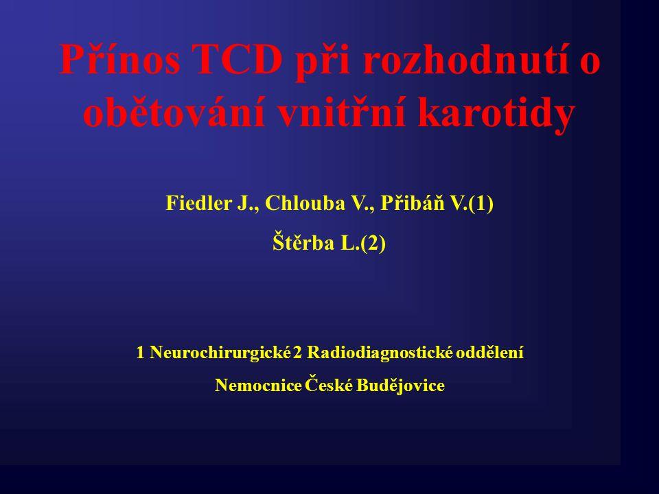 Přínos TCD při rozhodnutí o obětování vnitřní karotidy Fiedler J., Chlouba V., Přibáň V.(1) Štěrba L.(2) 1 Neurochirurgické 2 Radiodiagnostické odděle