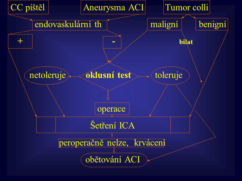 CC píštělAneurysma ACI Tumor colli endovaskulární th maligní benigní + - bilat netoleruje oklusní test toleruje operace Šetření ICA peroperačně nelze,