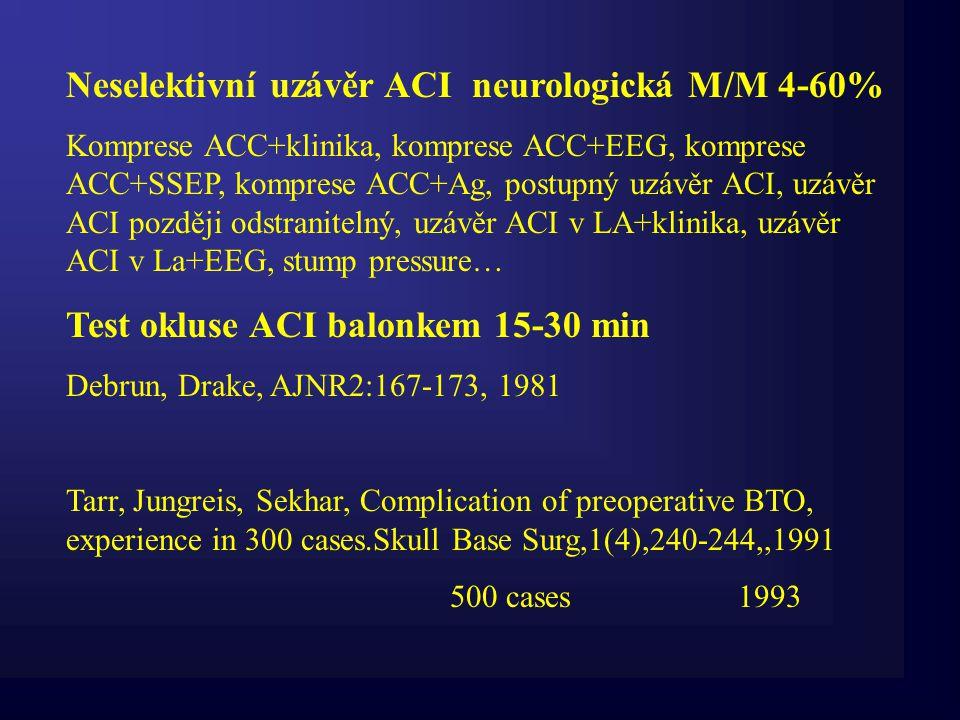 Neselektivní uzávěr ACI neurologická M/M 4-60% Komprese ACC+klinika, komprese ACC+EEG, komprese ACC+SSEP, komprese ACC+Ag, postupný uzávěr ACI, uzávěr