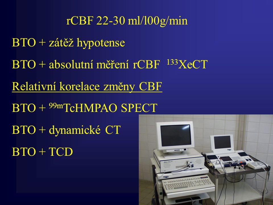 rCBF 22-30 ml/l00g/min BTO + zátěž hypotense BTO + absolutní měření rCBF 133 XeCT Relativní korelace změny CBF BTO + 99m TcHMPAO SPECT BTO + dynamické