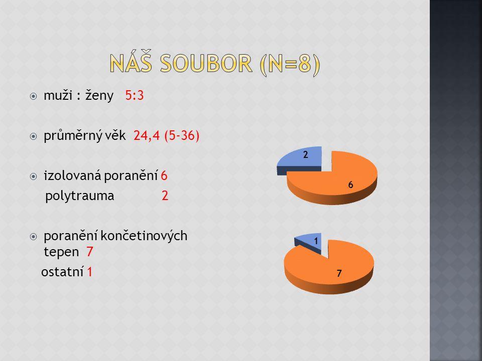  muži : ženy 5:3  průměrný věk 24,4 (5-36)  izolovaná poranění 6 polytrauma 2  poranění končetinových tepen 7 ostatní 1