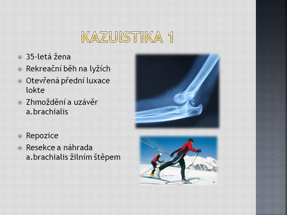  35-letá žena  Rekreační běh na lyžích  Otevřená přední luxace lokte  Zhmoždění a uzávěr a.brachialis  Repozice  Resekce a náhrada a.brachialis