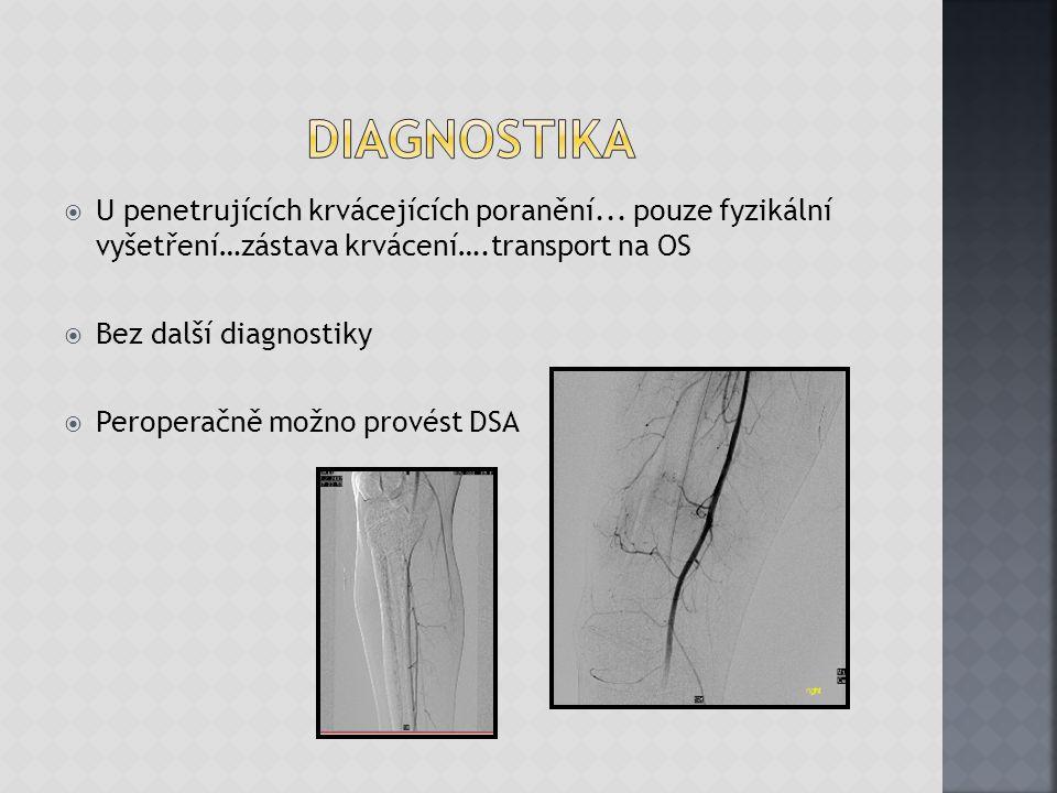  U penetrujících krvácejících poranění... pouze fyzikální vyšetření…zástava krvácení….transport na OS  Bez další diagnostiky  Peroperačně možno pro