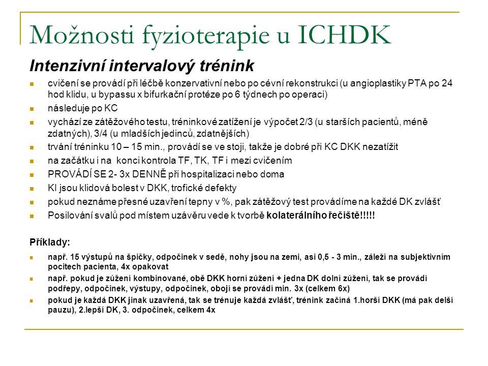 Možnosti fyzioterapie u ICHDK Intenzivní intervalový trénink cvičení se provádí při léčbě konzervativní nebo po cévní rekonstrukci (u angioplastiky PT