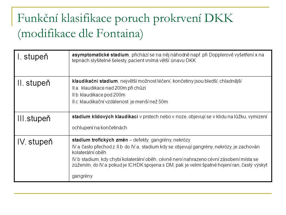 Funkční klasifikace poruch prokrvení DKK (modifikace dle Fontaina) I. stupeň asymptomatické stadium, přichází se na něj náhodně např. při Dopplerově v