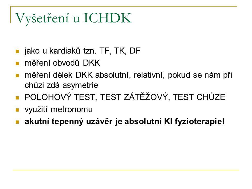 Vyšetření u ICHDK jako u kardiaků tzn. TF, TK, DF měření obvodů DKK měření délek DKK absolutní, relativní, pokud se nám při chůzi zdá asymetrie POLOHO