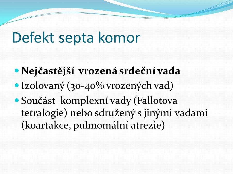 Defekt septa komor Nejčastější vrozená srdeční vada Izolovaný (30-40% vrozených vad) Součást komplexní vady (Fallotova tetralogie) nebo sdružený s jinými vadami (koartakce, pulmomální atrezie)