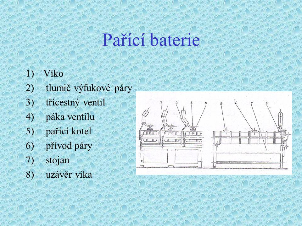 Pařící baterie 1)Víko 2) tlumič výfukové páry 3) třícestný ventil 4) páka ventilu 5) pařící kotel 6) přívod páry 7) stojan 8) uzávěr víka