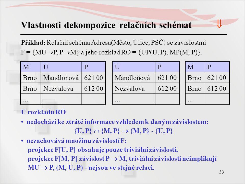 33 Vlastnosti dekompozice relačních schémat  Příklad: Relační schéma Adresa(Město, Ulice, PSČ) se závislostmi F = {MU  P, P  M} a jeho rozklad RO =