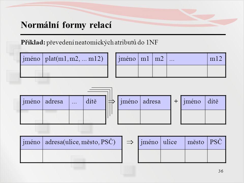 36 Normální formy relací Příklad: převedení neatomických atributů do 1NF jménoplat(m1, m2,... m12)jménom1m2...m12 jménoadresa...dítě  jménoadresa+jmé