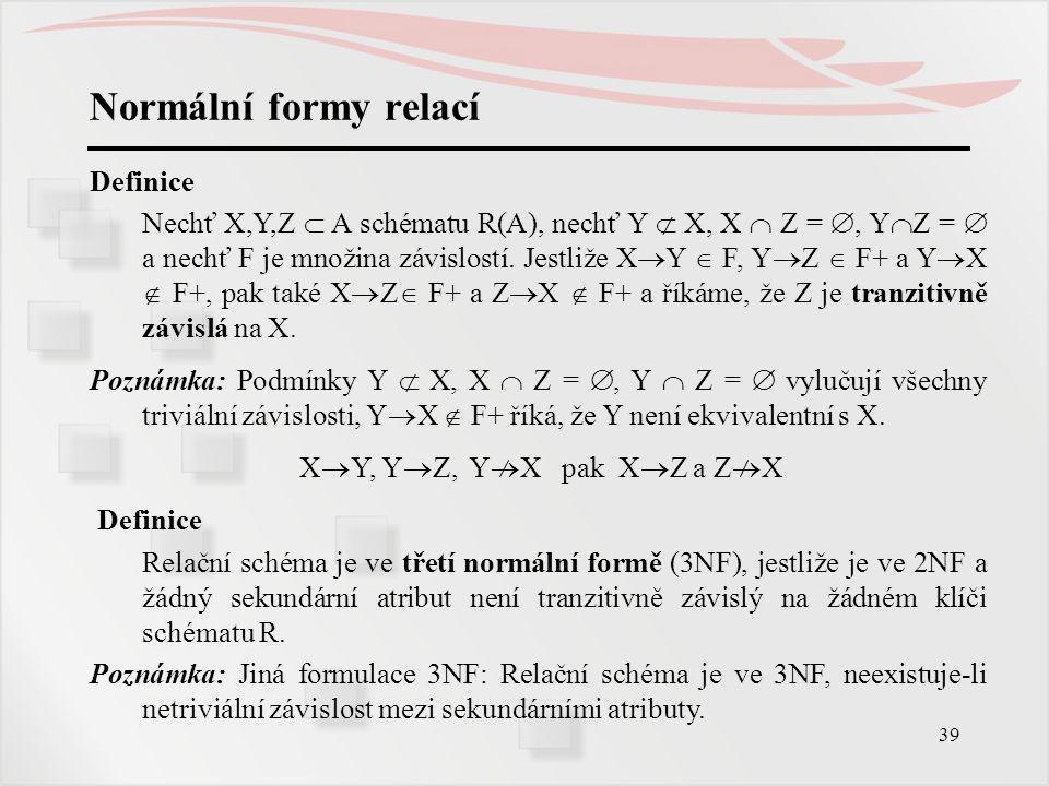 39 Normální formy relací Definice Nechť X,Y,Z  A schématu R(A), nechť Y  X, X  Z = , Y  Z =  a nechť F je množina závislostí. Jestliže X  Y  F