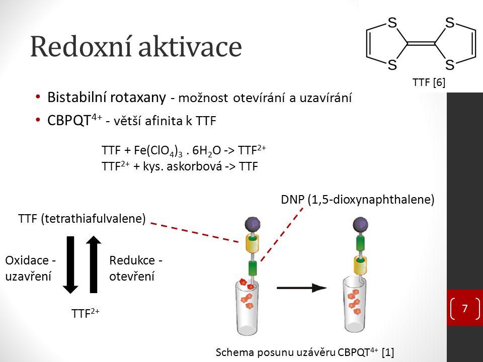 """Aktivace světlem A) Fotosenzitizátor – fotoindukovaný přenos elektronů na CBPQT 4+ B) Fotoaktivní azobenzenové """"nanopoháněče Nepřetržitá fotoizomerizace 8 Azobenzenové """"nanopoháněče uvnitř póru MSNP [7] Trans konformace Cis konformace UV Viditelné světlo Trans a cis azobenzen [8]"""