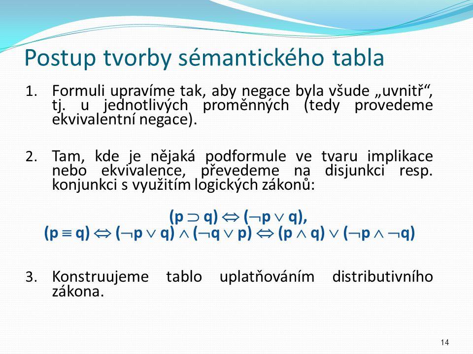 """Postup tvorby sémantického tabla 1. Formuli upravíme tak, aby negace byla všude """"uvnitř"""", tj. u jednotlivých proměnných (tedy provedeme ekvivalentní n"""