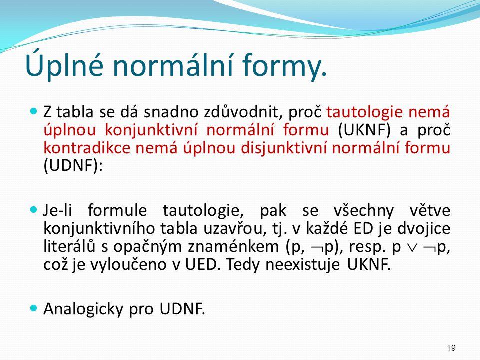 Úplné normální formy. Z tabla se dá snadno zdůvodnit, proč tautologie nemá úplnou konjunktivní normální formu (UKNF) a proč kontradikce nemá úplnou di