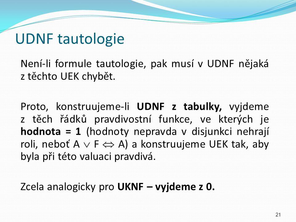UDNF tautologie Není-li formule tautologie, pak musí v UDNF nějaká z těchto UEK chybět. Proto, konstruujeme-li UDNF z tabulky, vyjdeme z těch řádků pr