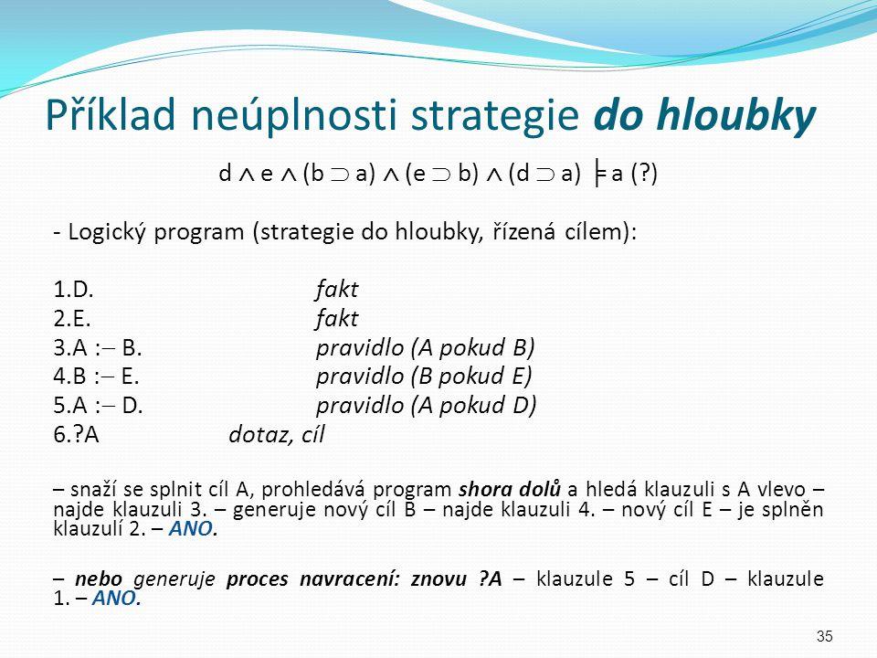 Příklad neúplnosti strategie do hloubky d  e  (b  a)  (e  b)  (d  a) ╞ a (?) - Logický program (strategie do hloubky, řízená cílem): 1. D.fakt