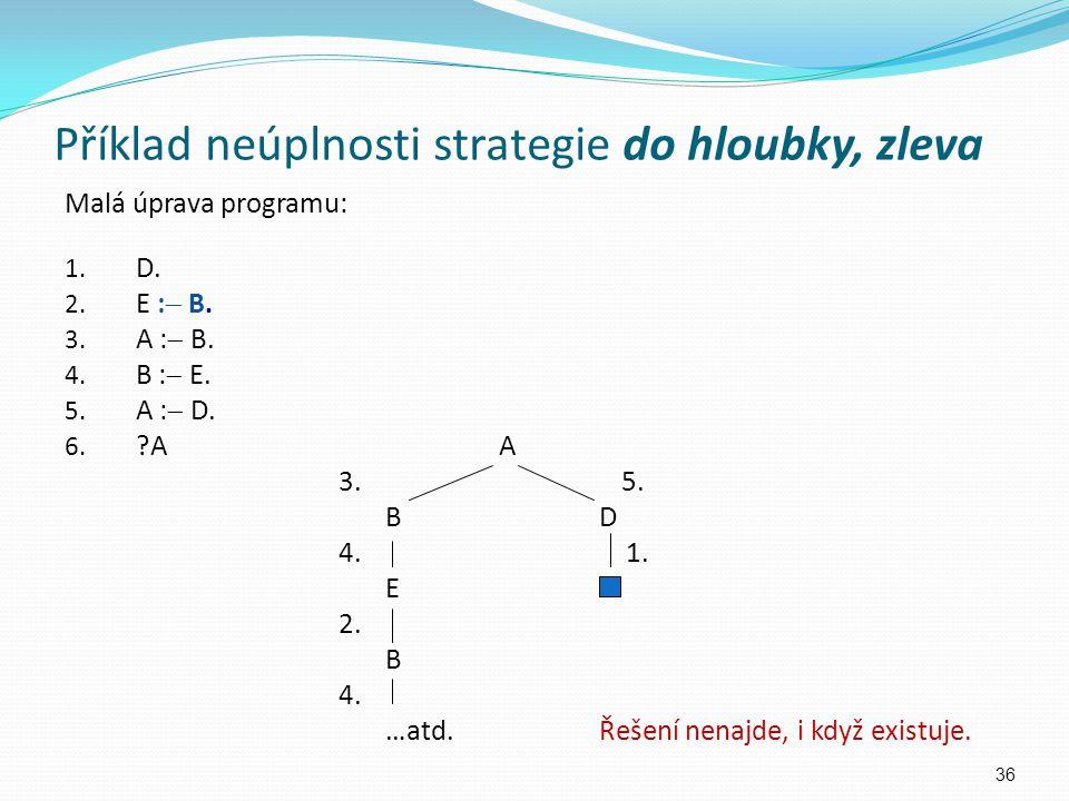 Malá úprava programu: 1. D. 2. E :  B. 3. A :  B. 4. B :  E. 5. A :  D. 6. ?A A 3. 5. BDBD 4. 1. E 2. B 4. …atd.Řešení nenajde, i když existuje. 3