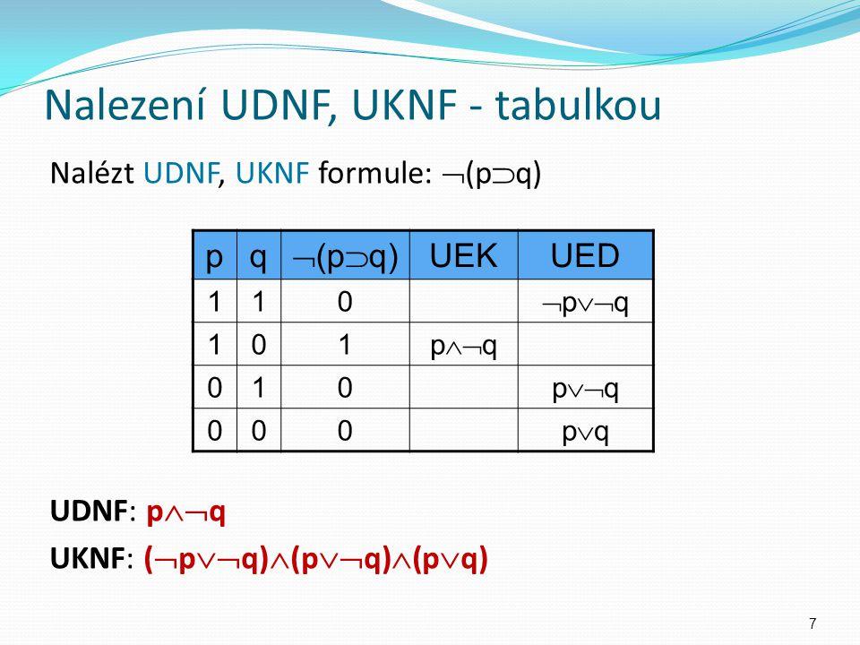 Nalézt UDNF, UKNF formule:  (p  q) UDNF: p  q UKNF: (  p  q)  (p  q)  (p  q) pq  (p  q) UEKUED 110  p  q 101 p  q 010 p  q 000 p