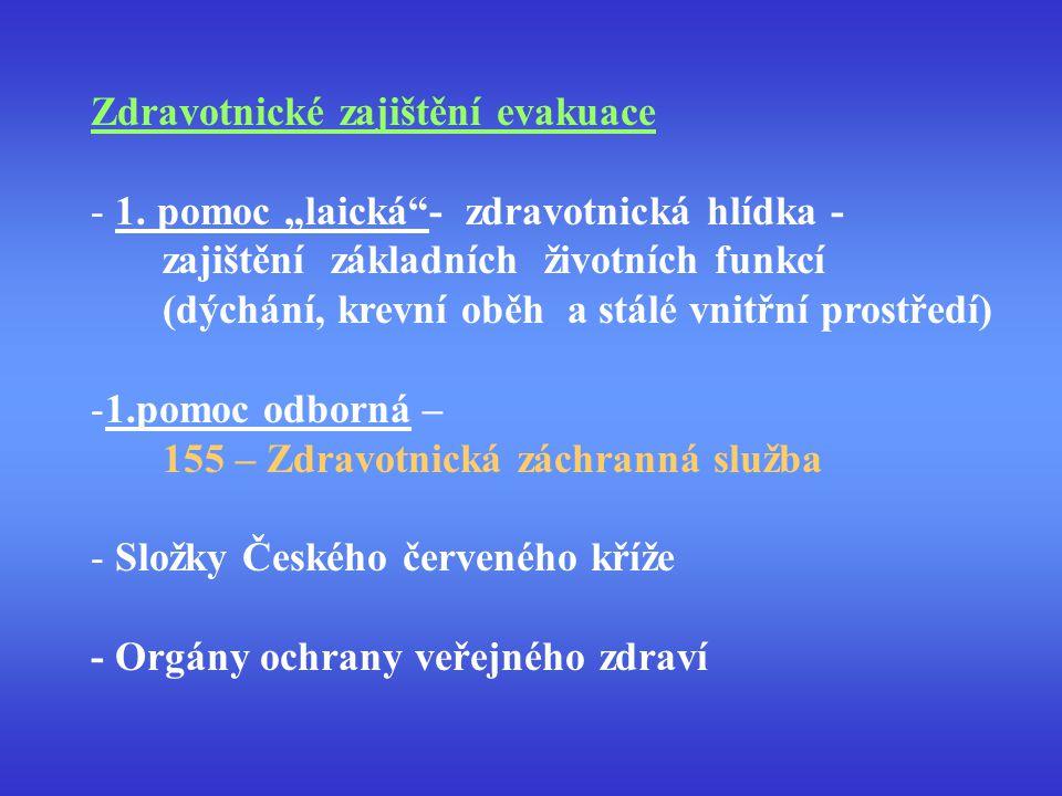 """Zdravotnické zajištění evakuace - 1. pomoc """"laická""""- zdravotnická hlídka - zajištění základních životních funkcí (dýchání, krevní oběh a stálé vnitřní"""