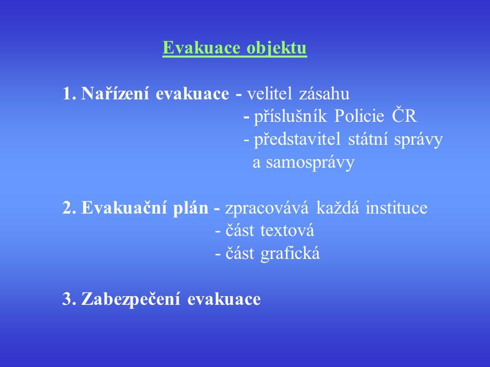 Evakuace objektu 1. Nařízení evakuace - velitel zásahu - příslušník Policie ČR - představitel státní správy a samosprávy 2. Evakuační plán - zpracováv