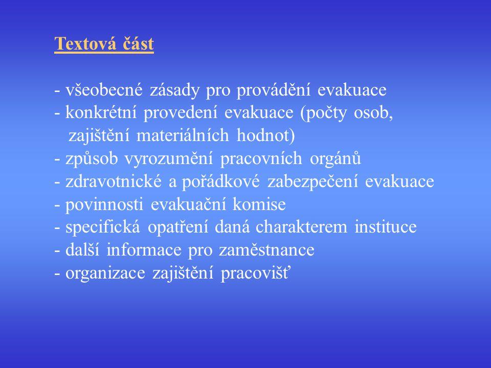 Textová část - všeobecné zásady pro provádění evakuace - konkrétní provedení evakuace (počty osob, zajištění materiálních hodnot) - způsob vyrozumění