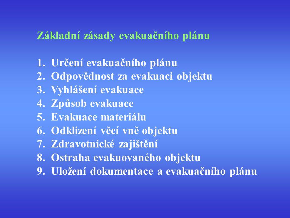 Základní zásady evakuačního plánu 1. Určení evakuačního plánu 2. Odpovědnost za evakuaci objektu 3. Vyhlášení evakuace 4. Způsob evakuace 5. Evakuace