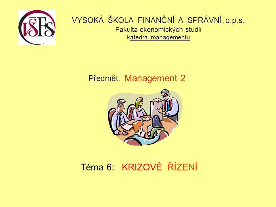 KRIZOVÉ ŘÍZENÍ - definice Krizové řízení Ucelený soubor ověřených přístupů, názorů, zkušeností a metod, které vedoucí zaměstnanci – manažeři užívají k zvládnutí specifických činností, tj.: manažerských funkcí – plánování organizování, výběr a rozmísťování zaměstnanců, analyzování řešených problémů – rozhodování, implementace (VEBER, J.