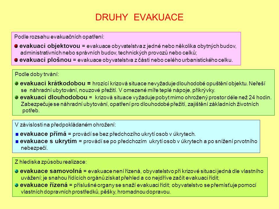 DRUHY EVAKUACE Podle rozsahu evakuačních opatření: evakuaci objektovou = evakuace obyvatelstva z jedné nebo několika obytných budov, administrativních