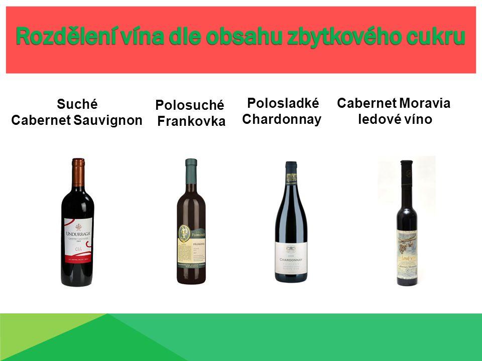Suché Cabernet Sauvignon Polosuché Frankovka Cabernet Moravia ledové víno Polosladké Chardonnay