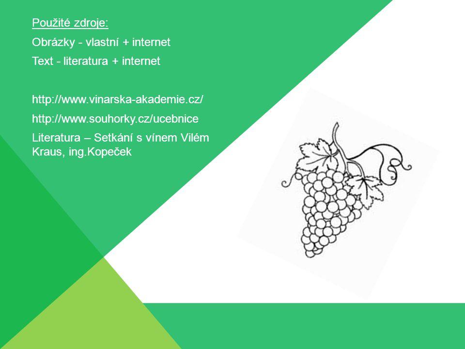 Použité zdroje: Obrázky - vlastní + internet Text - literatura + internet http://www.vinarska-akademie.cz/ http://www.souhorky.cz/ucebnice Literatura – Setkání s vínem Vilém Kraus, ing.Kopeček