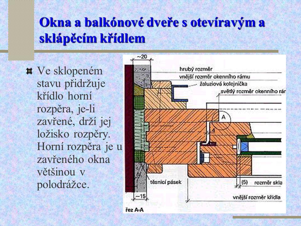Okna a balkónové dveře s otevíravým a sklápěcím křídlem Okno s otevíravým a sklápěcím křídlem představuje kombinaci obou těchto typů. V otevřené poloz