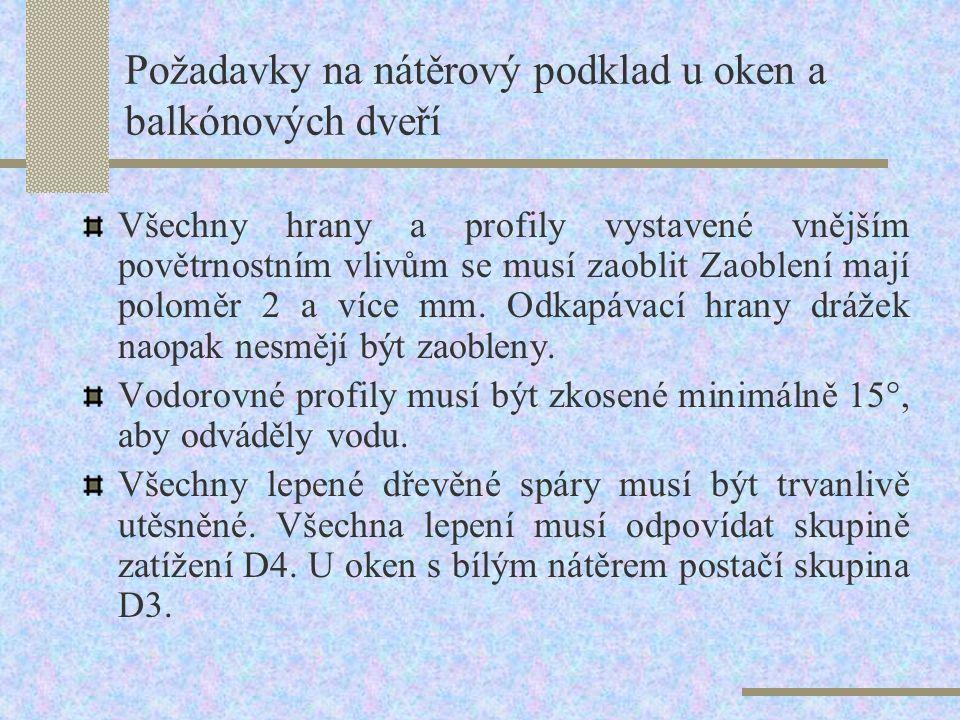 13.11.2Požadavky na nátěrový podklad u oken a balkónových dveří Na dřevěný nátěrový podklad je kladena řada požadavků, které je třeba splnit, aby byla
