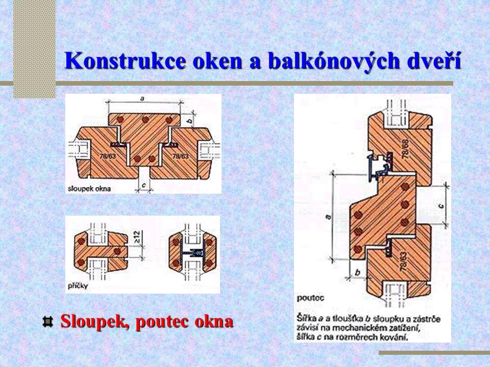 Konstrukce oken a balkónových dveří Průřez profilu : 44 / 78 – 44 a 44 / 92 - 44