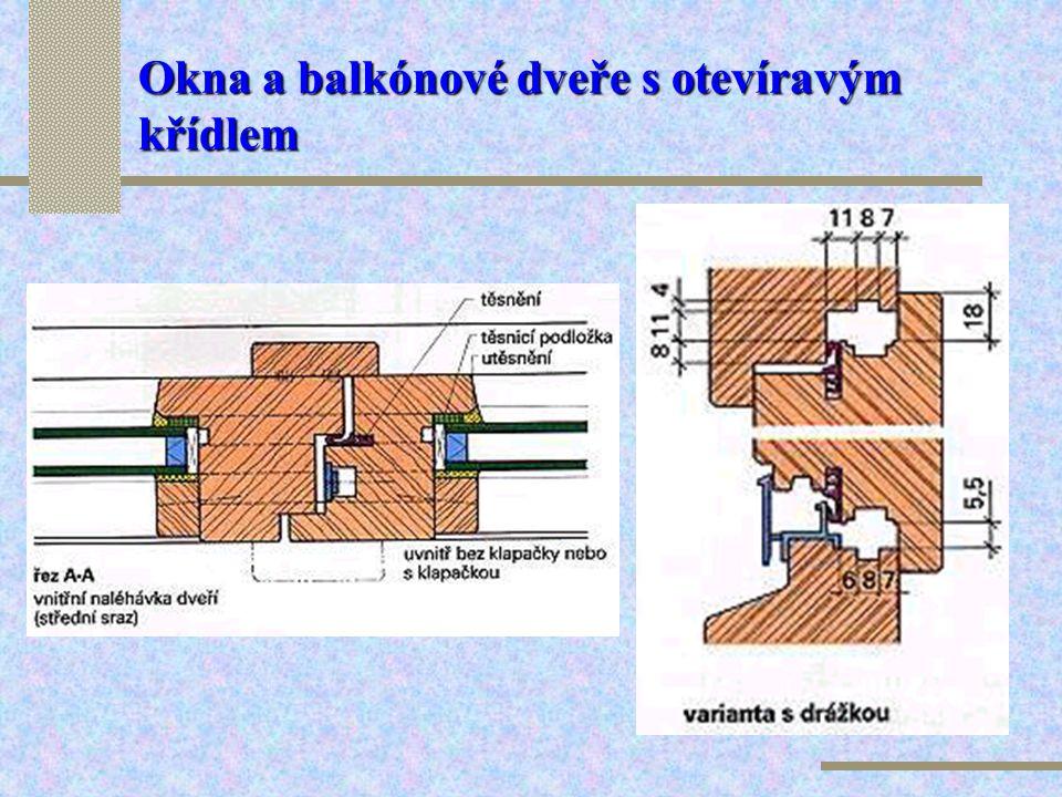Okna a balkónové dveře s otevíravým křídlem Balkónové dveře s otevíravým křídlem jsou konstruovány a fungují podobně jako okno tohoto typu. Dveře slou