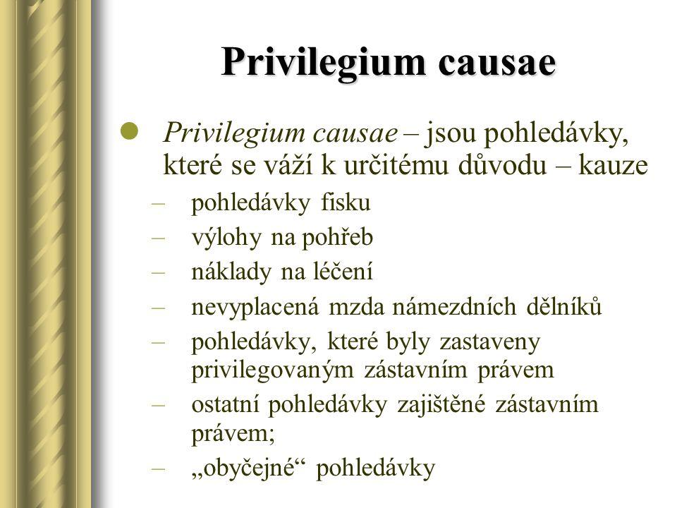 Privilegium causae Privilegium causae – jsou pohledávky, které se váží k určitému důvodu – kauze –pohledávky fisku –výlohy na pohřeb –náklady na léčen