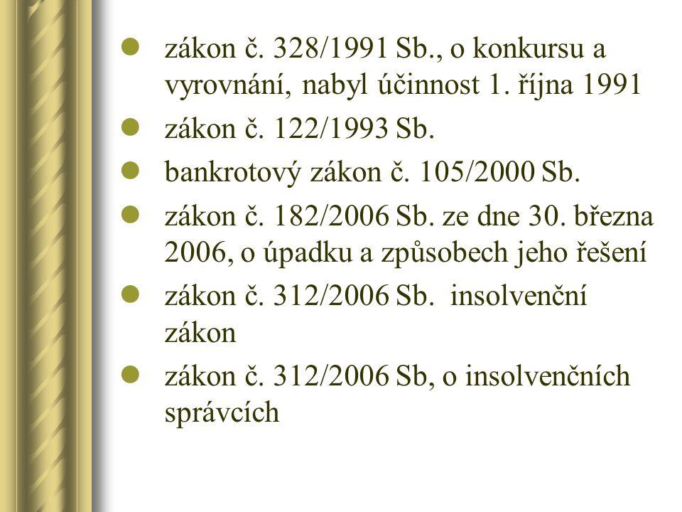 zákon č. 328/1991 Sb., o konkursu a vyrovnání, nabyl účinnost 1. října 1991 zákon č. 122/1993 Sb. bankrotový zákon č. 105/2000 Sb. zákon č. 182/2006 S