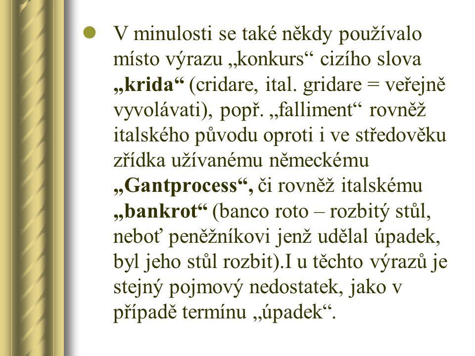 """V minulosti se také někdy používalo místo výrazu """"konkurs"""" cizího slova """"krida"""" (cridare, ital. gridare = veřejně vyvolávati), popř. """"falliment"""" rovně"""
