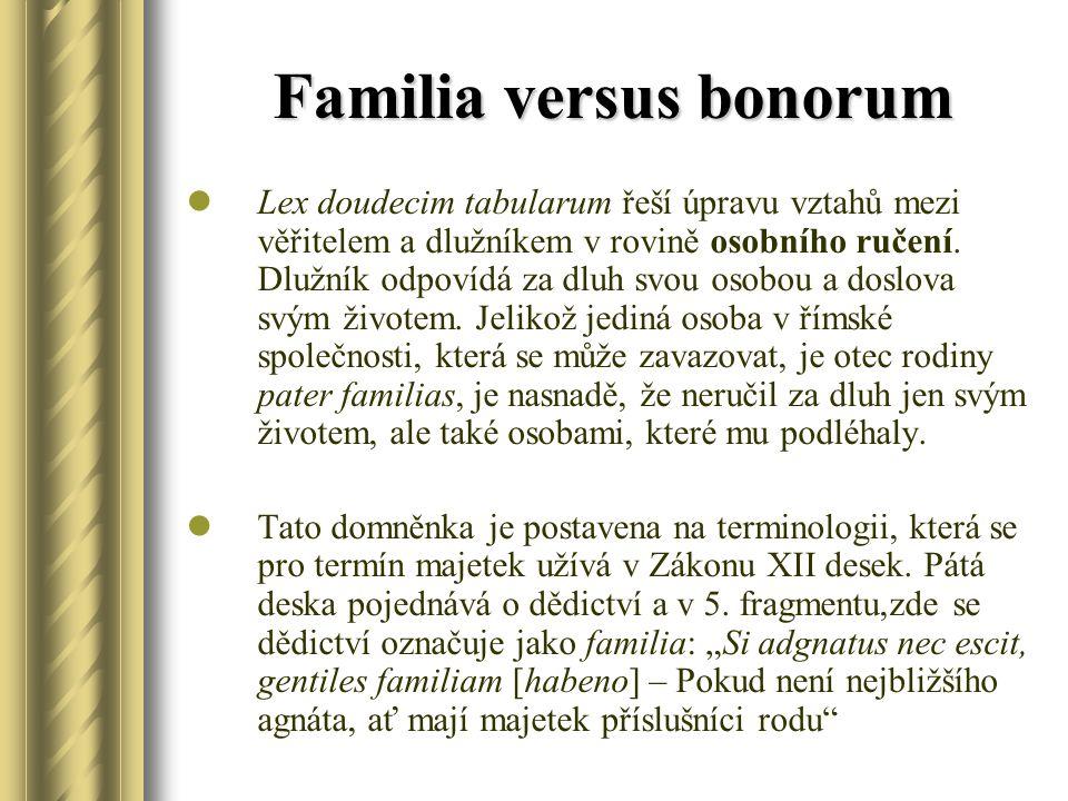 Familia versus bonorum Lex doudecim tabularum řeší úpravu vztahů mezi věřitelem a dlužníkem v rovině osobního ručení. Dlužník odpovídá za dluh svou os