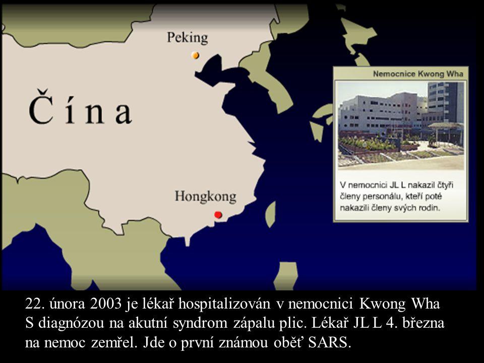 22. února 2003 je lékař hospitalizován v nemocnici Kwong Wha S diagnózou na akutní syndrom zápalu plic. Lékař JL L 4. března na nemoc zemřel. Jde o pr