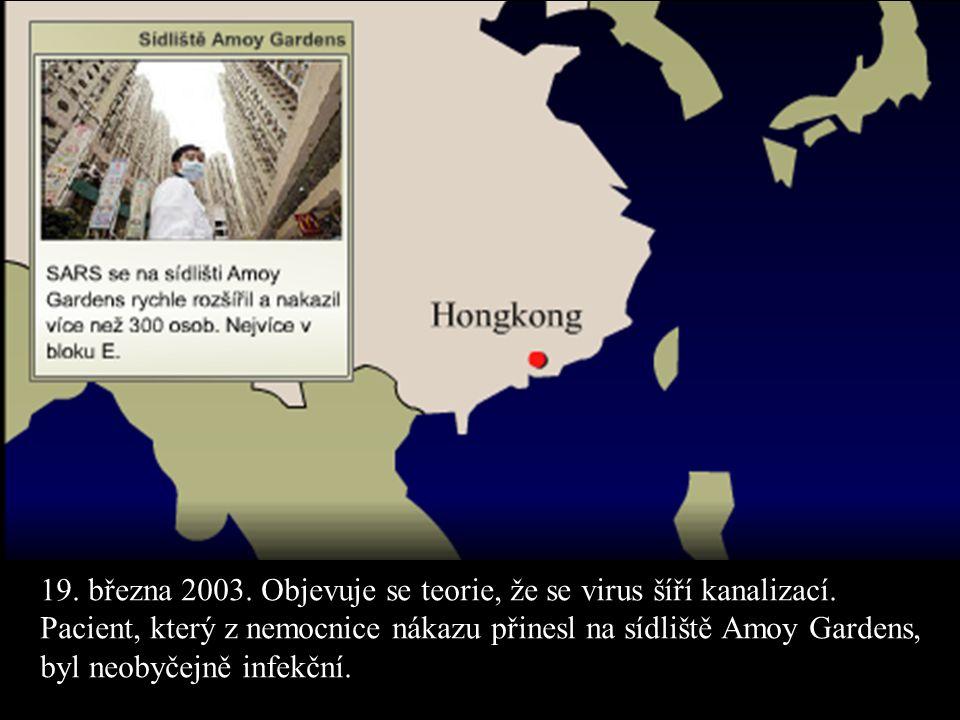 19. března 2003. Objevuje se teorie, že se virus šíří kanalizací. Pacient, který z nemocnice nákazu přinesl na sídliště Amoy Gardens, byl neobyčejně i