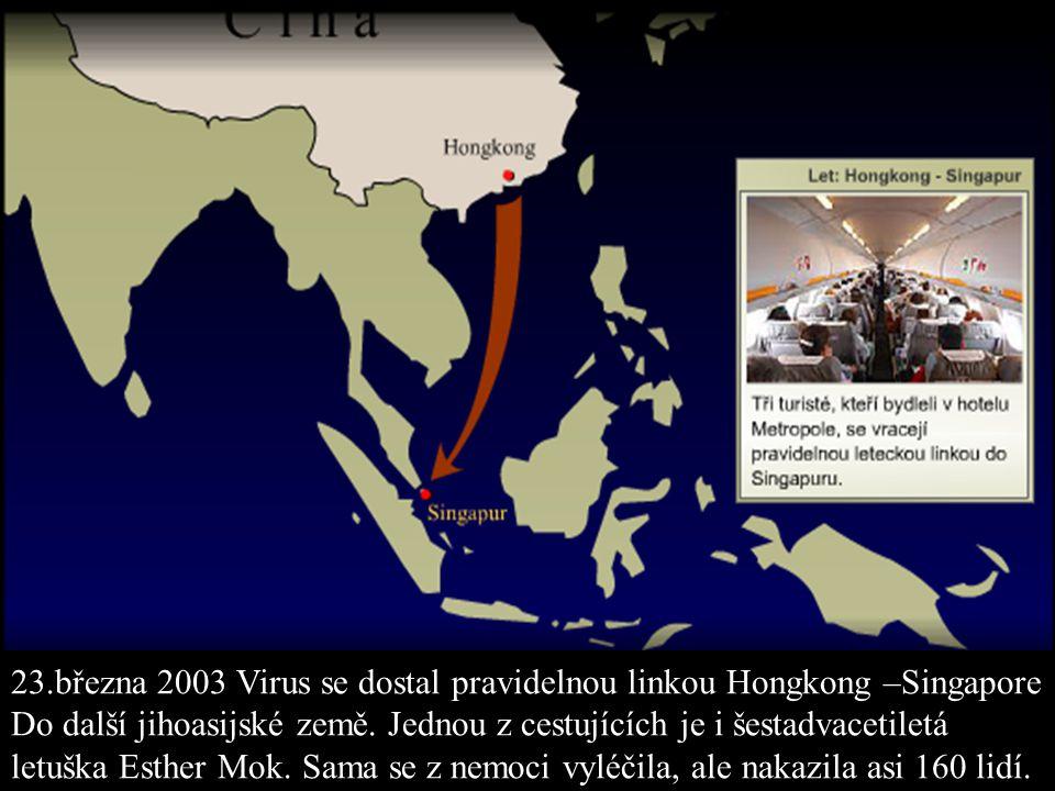 23.března 2003 Virus se dostal pravidelnou linkou Hongkong –Singapore Do další jihoasijské země. Jednou z cestujících je i šestadvacetiletá letuška Es