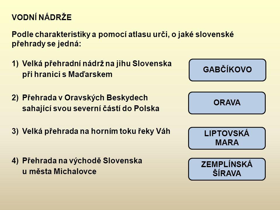 VODNÍ NÁDRŽE Podle charakteristiky a pomocí atlasu urči, o jaké slovenské přehrady se jedná: GABČÍKOVO ORAVA LIPTOVSKÁ MARA ZEMPLÍNSKÁ ŠÍRAVA 1)Velká
