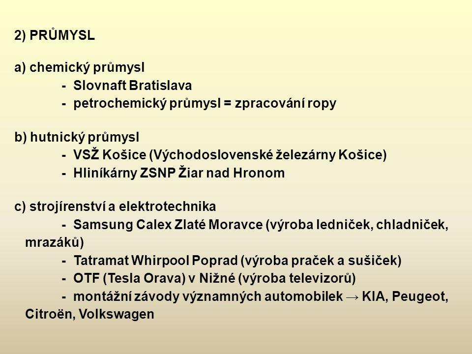2) PRŮMYSL a) chemický průmysl - Slovnaft Bratislava - petrochemický průmysl = zpracování ropy b) hutnický průmysl - VSŽ Košice (Východoslovenské žele