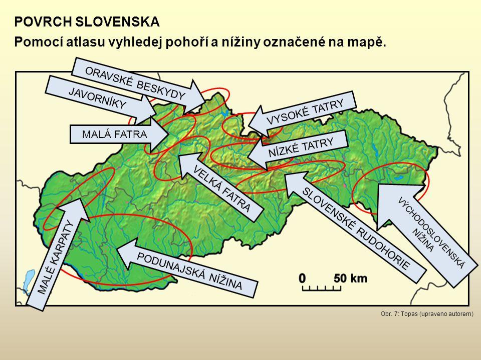 Obr. 7: Topas (upraveno autorem) POVRCH SLOVENSKA Pomocí atlasu vyhledej pohoří a nížiny označené na mapě. JAVORNÍKY ORAVSKÉ BESKYDY MALÉ KARPATY MALÁ