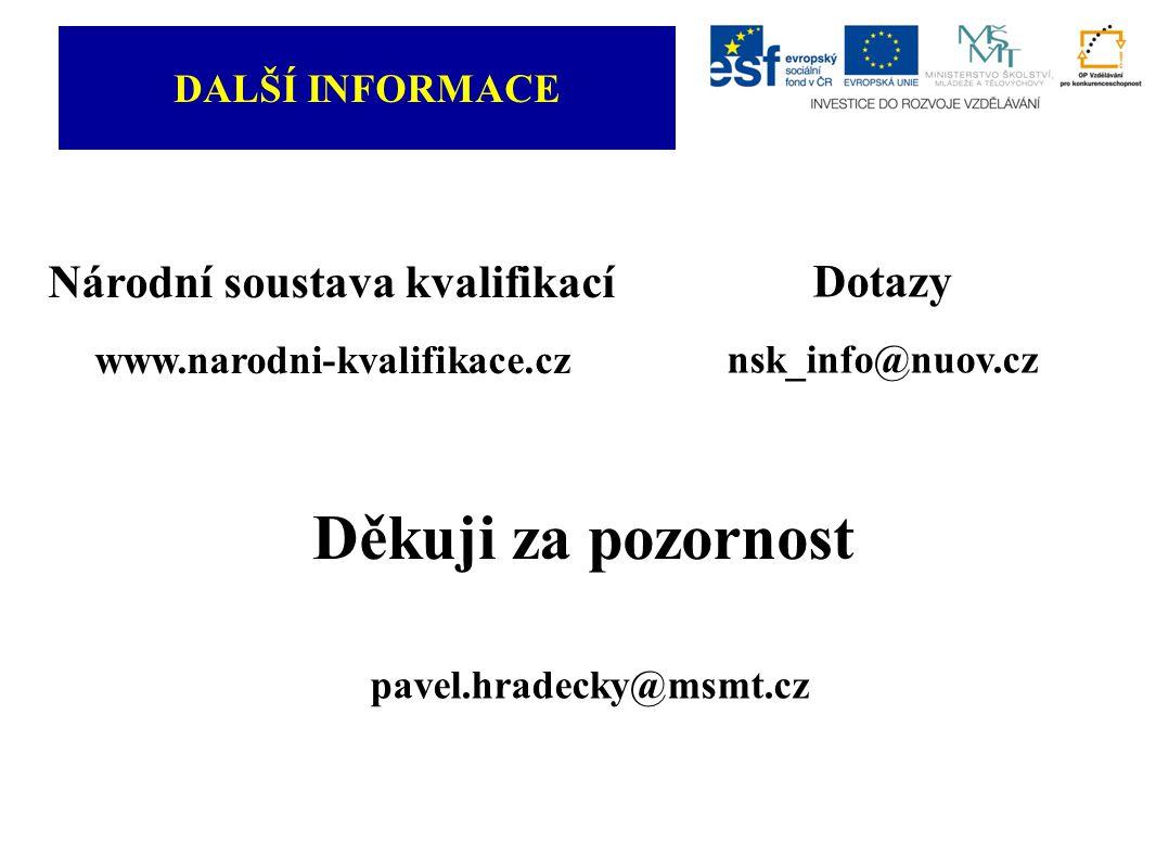 DALŠÍ INFORMACE Národní soustava kvalifikací www.narodni-kvalifikace.cz Dotazy nsk_info@nuov.cz Děkuji za pozornost pavel.hradecky@msmt.cz