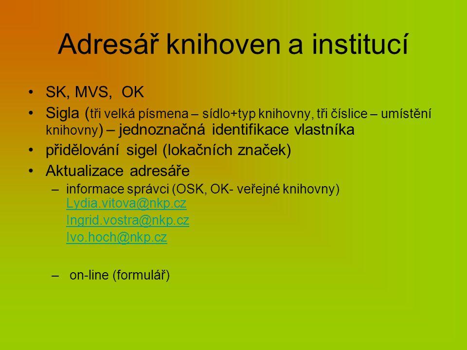 Adresář knihoven a institucí SK, MVS, OK Sigla ( tři velká písmena – sídlo+typ knihovny, tři číslice – umístění knihovny ) – jednoznačná identifikace vlastníka přidělování sigel (lokačních značek) Aktualizace adresáře –informace správci (OSK, OK- veřejné knihovny) Lydia.vitova@nkp.cz Lydia.vitova@nkp.cz Ingrid.vostra@nkp.cz Ivo.hoch@nkp.cz – on-line (formulář)