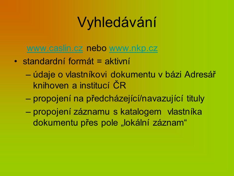 Adresář knihoven a institucí ČR Údaje v adresáři http://www.caslin.cz/http://www.caslin.cz/ nebo www.nkp.czwww.nkp.cz Tištěný adresář (Hostivař)
