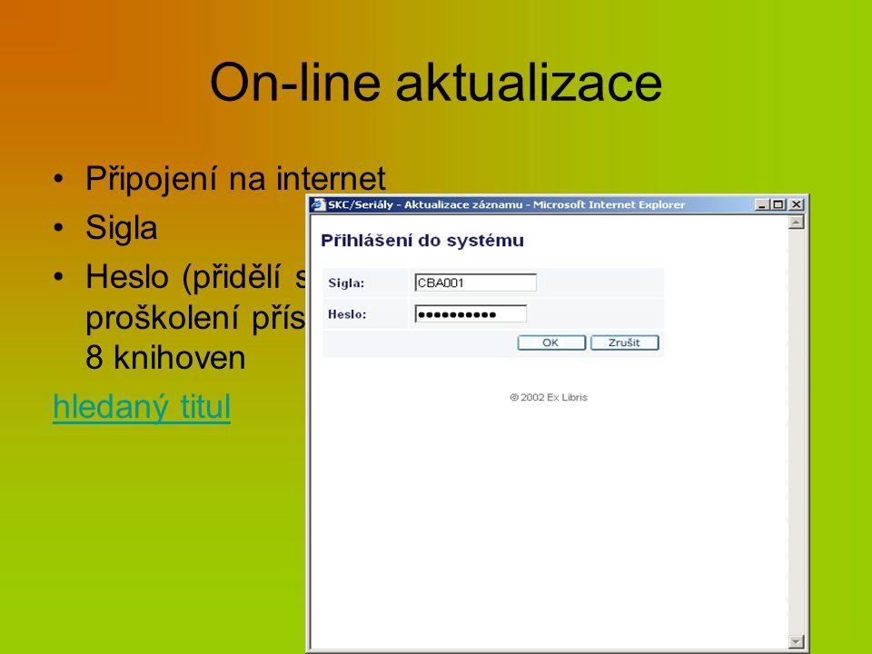 On-line aktualizace Připojení na internet Sigla Heslo (přidělí správce SK po proškolení příslušného pracovníka) – 8 knihoven hledaný titul