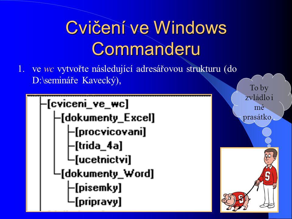 Cvičení ve Windows Commanderu 1.ve wc vytvořte následující adresářovou strukturu (do D:\semináře Kavecký), To by zvládlo i mé prasátko..