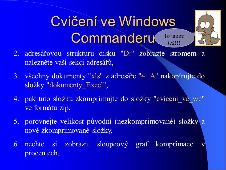 Cvičení ve Windows Commanderu 2.adresářovou strukturu disku D: zobrazte stromem a nalezněte vaší sekci adresářů, 3.všechny dokumenty xls z adresáře 4.
